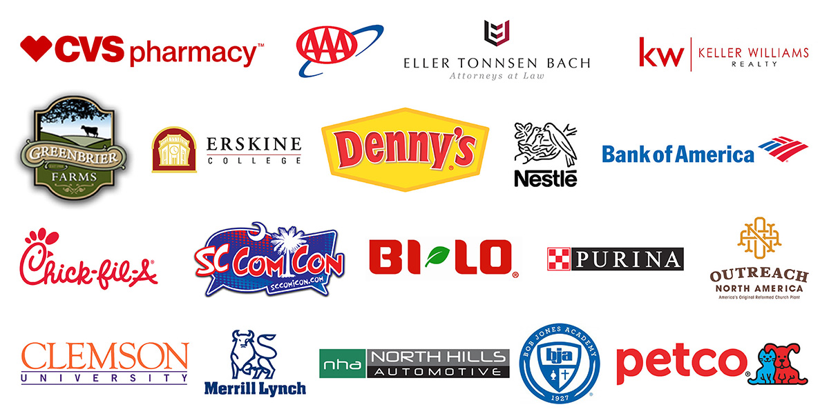 Commercial and corporate client highlights list with logos, including Greenbrier Farms, Clemson University, and Chick-fil-A